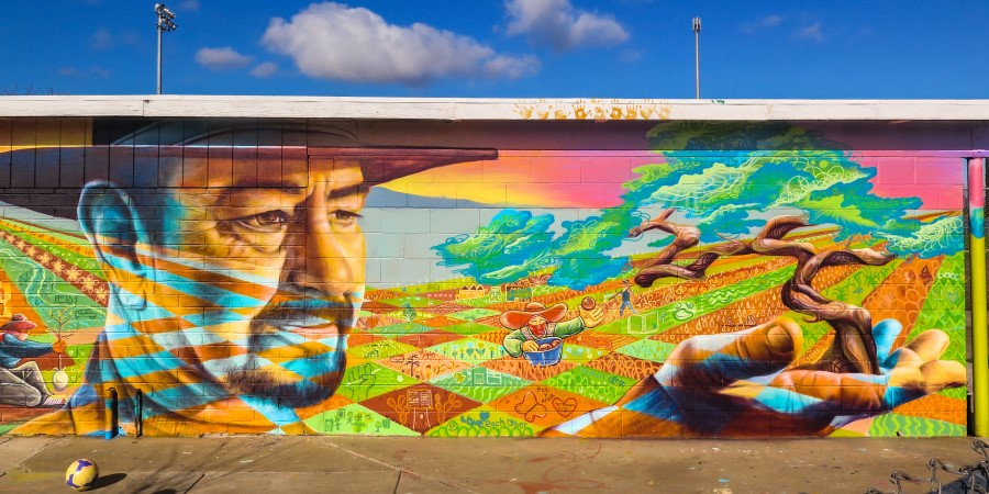 Community Mural at Central Valley in California. Joel Bergner